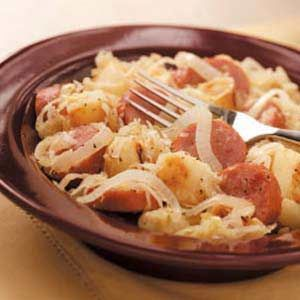 Sausage and Sauerkraut w/potatoes & onions. Used turkey kielbasa. Potatoes need longer to cook than calls for. Pretty good.