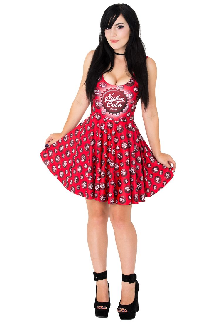 Kittyhawk Clothing Nuka Cola Skater Dress $75 AUD #nukacola #nukacolaskaterdress #skaterdress #khnukacoladress #kittyhawkclothing #geekyfashion #fallout #fallout4 #bottlecaps #kittyhawkclothing