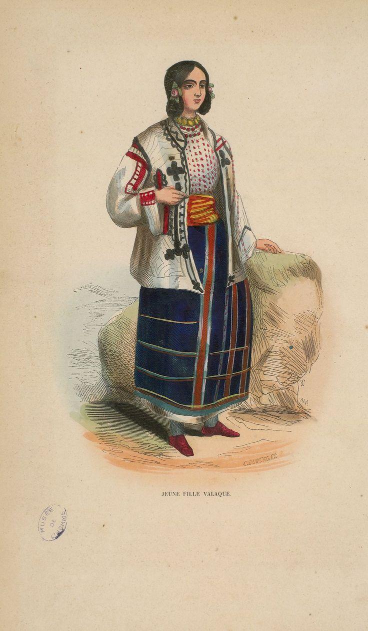 """Auguste Wahlen - Wallachian young woman from """"Illustrations de Moeurs, usages et costumes de tous les peuples du monde"""", 1843"""