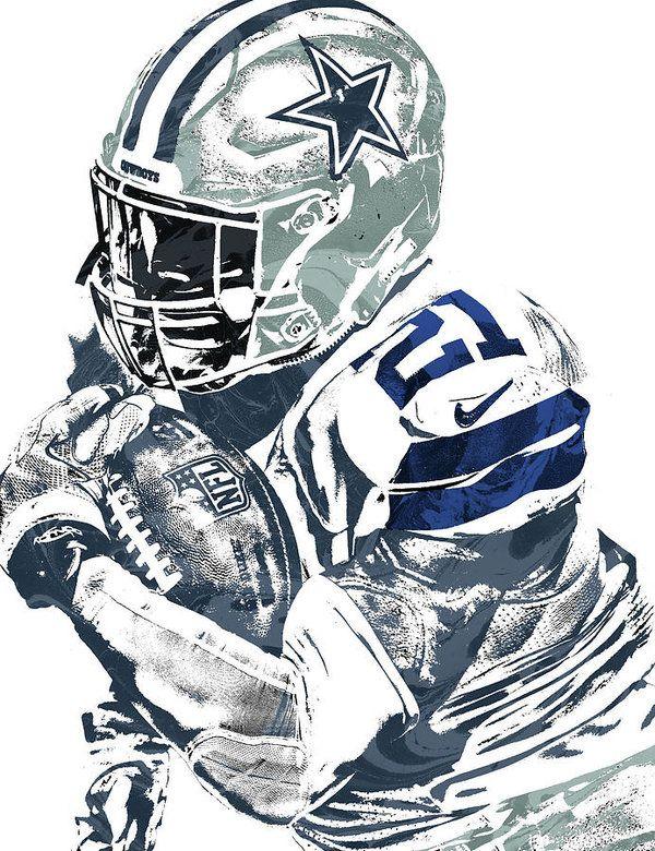 Ezekiel Elliott Dallas Cowboys Pixel Art 5 Art Print by Joe Hamilton. All  prints are professionally printed a83e94887