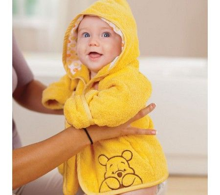 Winnie the Pooh bath robe for baby.... impractical but cute nonetheless