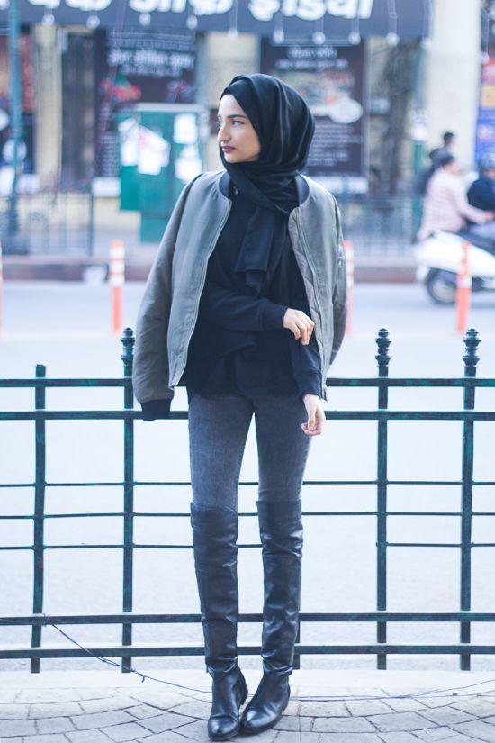 Filter Fashion: Hijab Fashion & Indian Style Blog: Bomber Jackets & Thigh Highs