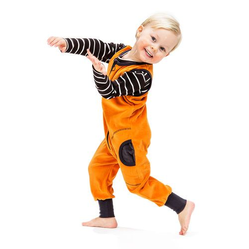 Sleeveless NOSH Jumpsuit, Orange Velour. 100% Certified Organic Cotton
