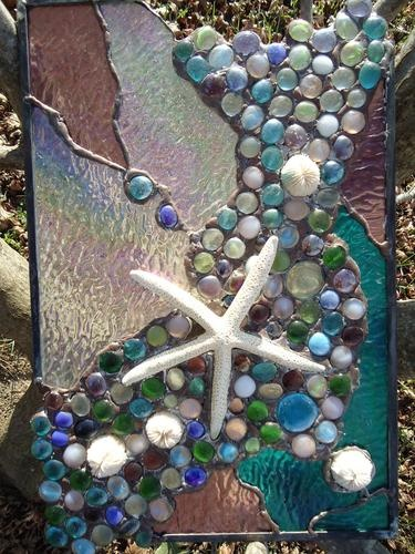 "Stained Glass Tropical Sea Beach Starfish Suncatcher Panel Tiffany St 18""x 11"" 