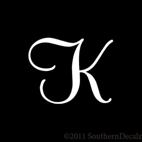 "Mural Cursive Font Initial Letter K - Decal Sticker - 24 Colors - 4.85"" x 3.75"""