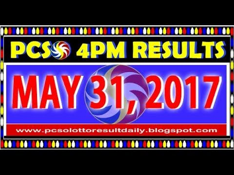 PCSO MidDay - 4PM Results May 31, 2017 (SWERTRES & EZ2)