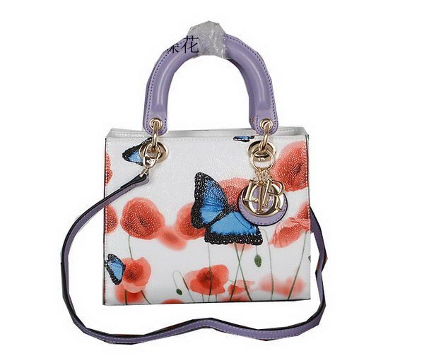Christian Dior Butterfly Leather Mini Lady Dior Bag D5433 Lavender
