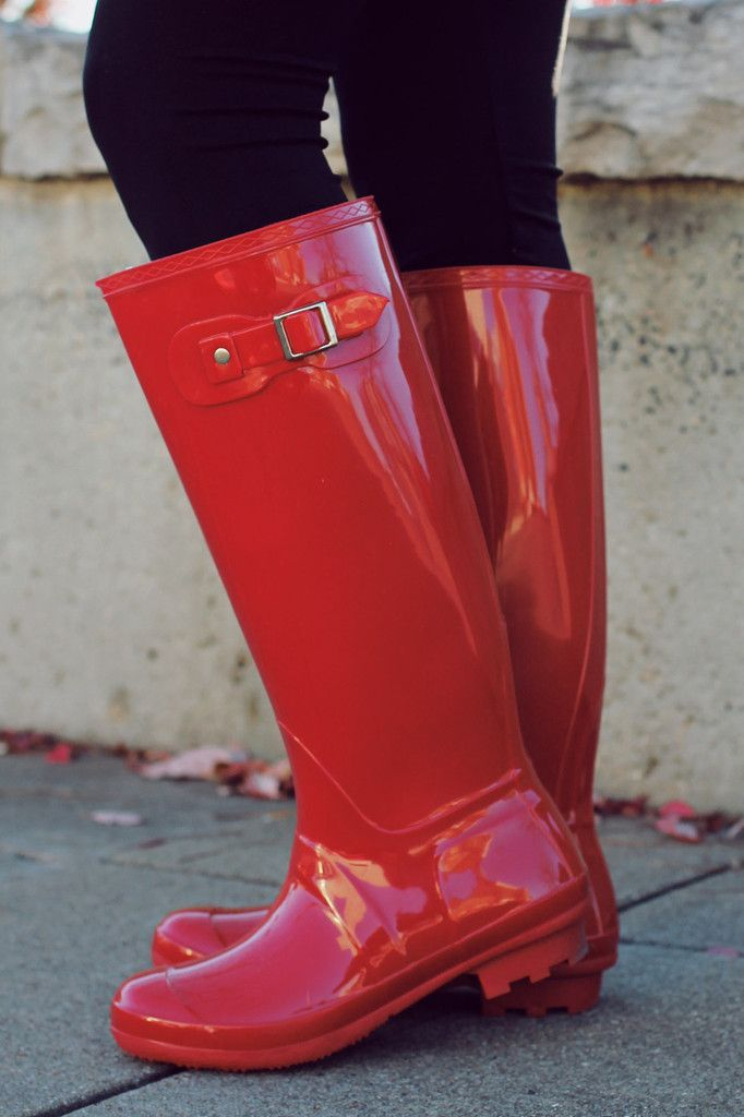 Red Buckle Detail Rain Boots | UOIonline.com: Women's Clothing Boutique
