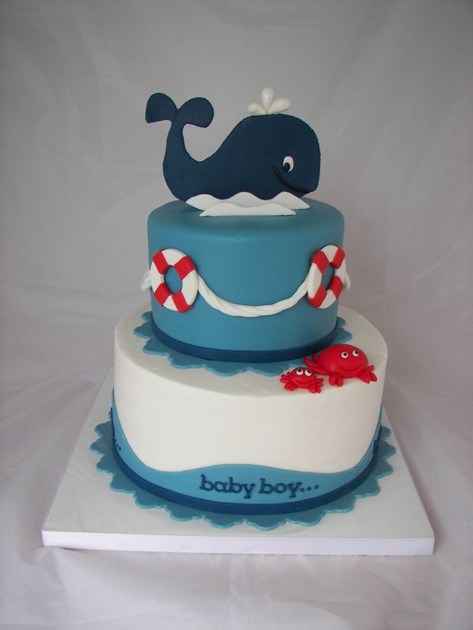 10 inch is buttercream with fondant accents, 6 inch is covered in fondant, fondant/gumpaste whale and crabs. I got the idea from cakesbymae.com her cakes are SOOOOO adorable!!!