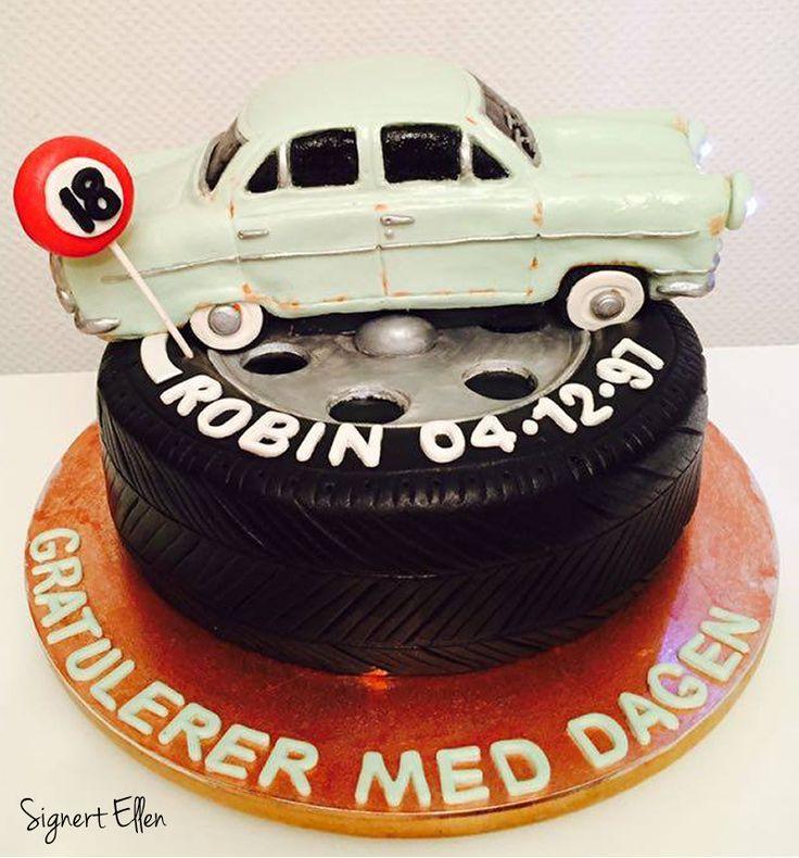 Ford Consul cake 1958 model, tire cake / Fordkake Consul 1958-modell, hjulkake - Signert Ellen