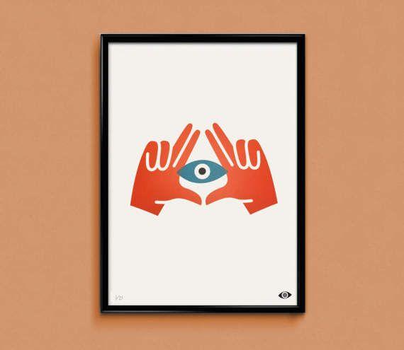 All Seeing Eye - 2 kleur scherm afdrukken op 320gsm papier