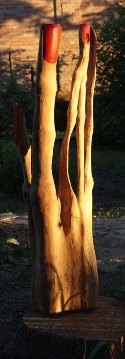 Thandt, one of my garden statues, 2008 - 2013, poplar, 125x40x20 cm.