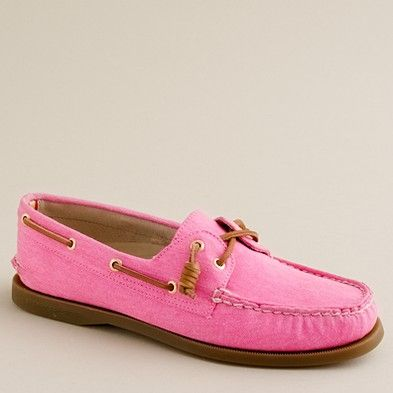 I die! Sperry Top-Siders in exclusive colors for J.Crew. I want the neon azalea or the dark spearmint. Might have to get both!