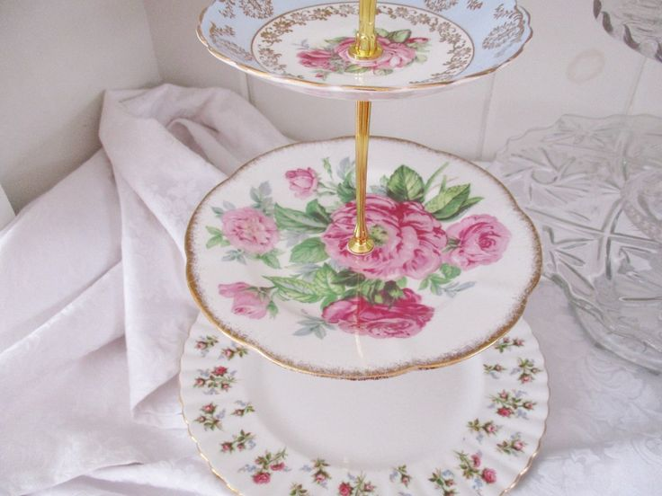 Vintage 3 TIER CAKE STAND, mis-matched English china plates, 3 tier English tea stand, afternoon tea stand,  excellent condition