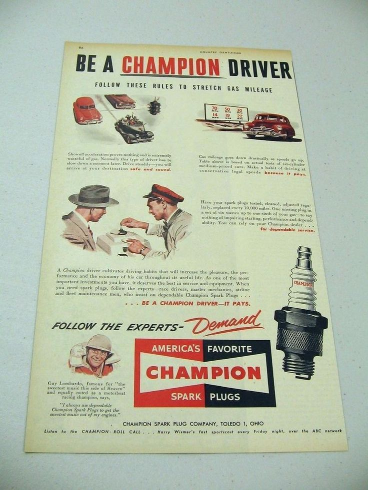 1950 Print Ad Champion Spark Plugs Guy Lombardo Boat Racing Champion