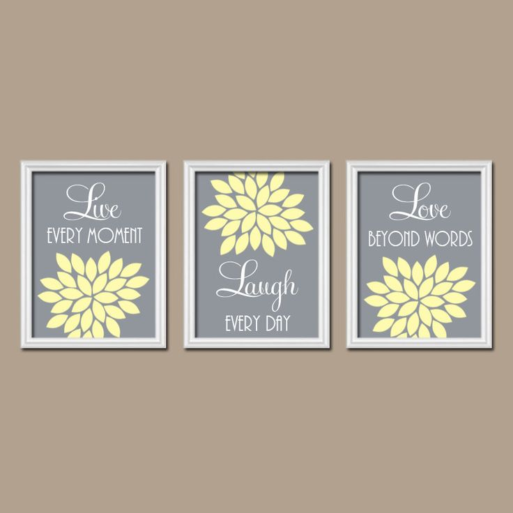 Live Laugh Love Wall Art, Yellow Gray Bedroom Wall Decor