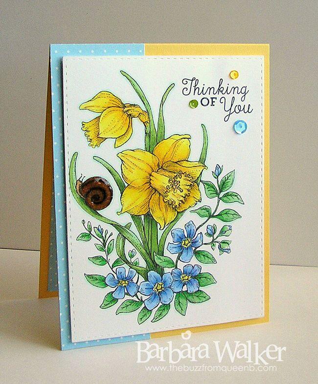 The Buzz: Power Poppy ~ Dancing with Daffodils Birthday Card