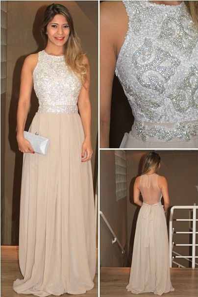 Tidetell.com Exquisite A-line Scoop Long Chiffon Prom Dress with Rhinestone; beaded prom dresses; long prom dresses; A-line prom dresses; chiffon prom dresses; elegant prom dresses; sexy prom dresses; backless prom dresses