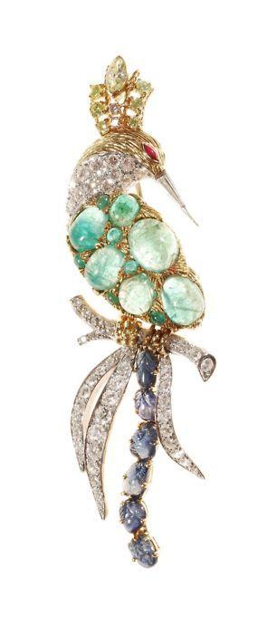 Bird of Paradise gem-set brooch.