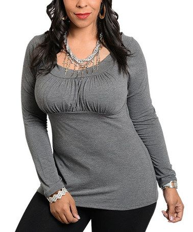 Another great find on #zulily! Charcoal Pleated Scoop Neck Top - Plus #zulilyfinds