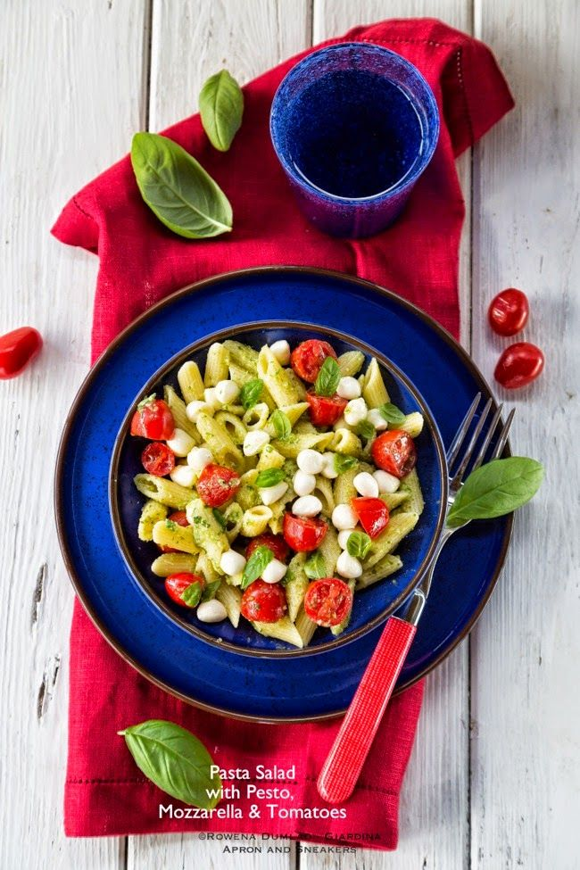 Apron and Sneakers - Cooking & Traveling in Italy and Beyond: Pasta Salad with Pesto, Mozzarella and Tomatoes