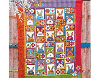 Woodland Bunnies Printed Quilt Pattern by TheRedBootQuiltCo