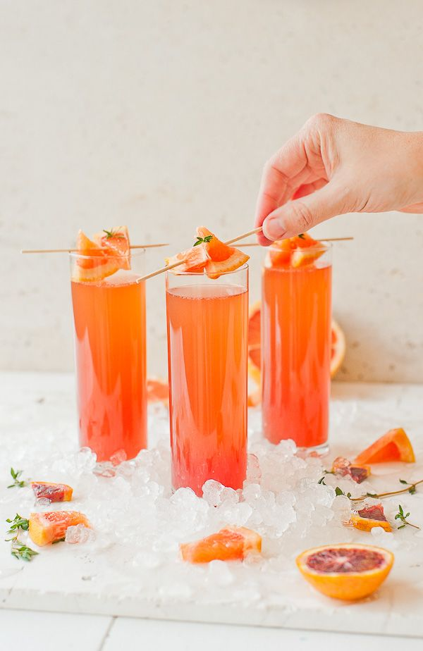 Bridal shower brunch cocktail - mimosa idea - blood orange grapefruit mimosas {Courtesy of Paper & Stitch}