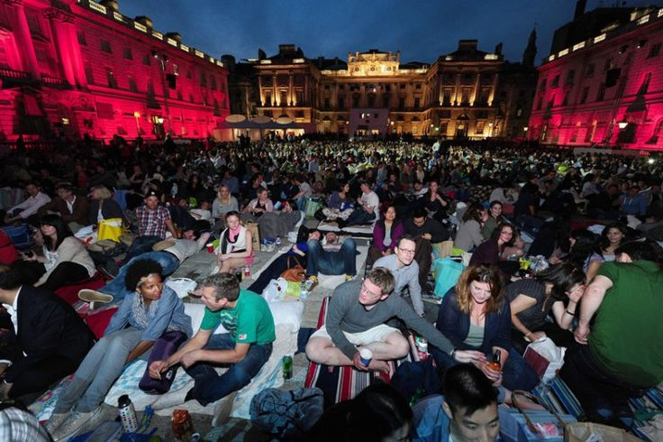 People get set to watch the Richard Curtis film ''About Time'' at Somerset House. Picture: PA
