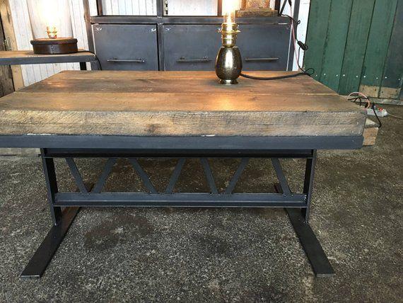 Table Basse Meuble Industriel En Acier Et Bois Muebles