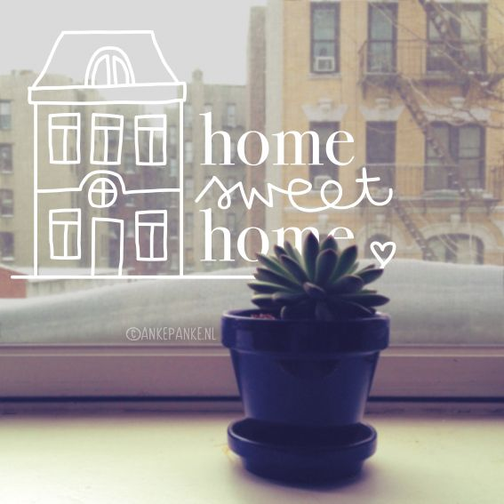 Huis illustratie met 'Home sweet home' quote #raamtekening om op je raam te tekenen in niet je huis, maar je Thuis.