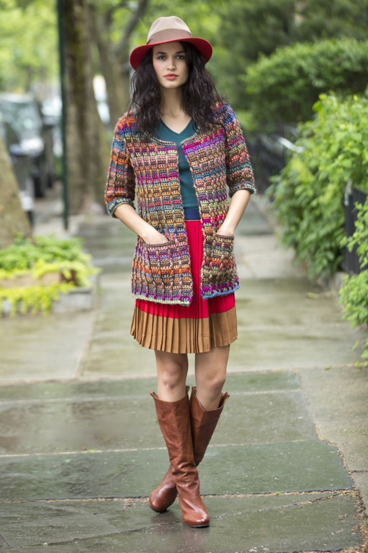 Lion Brand® Unique Vanna's Choice® Colorfully Modern Cardigan #crochet #pattern