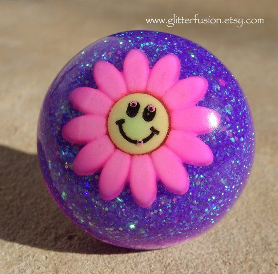 Pink & Purple Flower Power Resin Statement Ring, Retro Smiley Face
