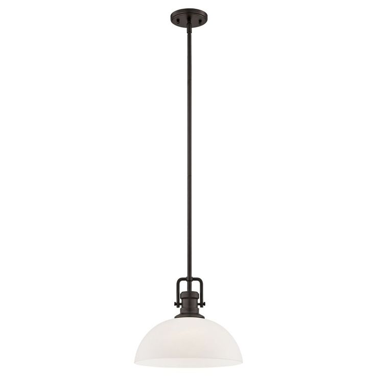 Design Classics Lighting Industrial Bronze Pendant Light with White Glass 13-Inch Wide 1763-220 G1785-WH