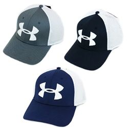 Under Armour Men's Spacer Mesh Stretch Fit Golf Hat Perform better, and score lower, in the Under Armour Men's Golf Spacer Mesh Cap. This specially designed hat features moisture wicking fabric, which quickly pulls sweat to the surface, where it can quickly evaporate, leaving you cool and dry. Structured stretch fit feels just as great on the 1st tee as it does on the 18th green. Clear UA logos on the front and back of the hat round out this fun and casual look. Product Features: Under…