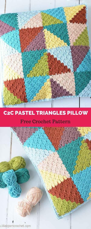 C2c Pastel Triangles Pillow Free Crochet Pattern Pinterest