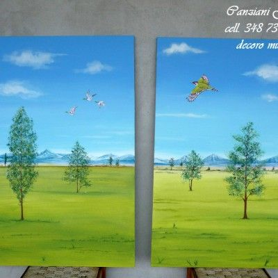 Paesaggi di campagna dipinti su tela