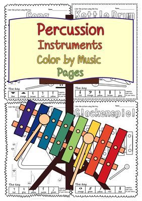 Percussion+Instruments+Color+by+Music+Pages+from+AMStudio+on+TeachersNotebook.com+-++(42+pages)++-+This+set+contains+14+images+of+Percussion+Instruments+in+3+different+formats+(42+pages+in+total):