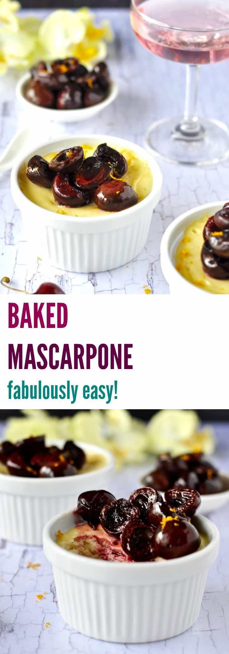 BAKED MASCARPONE is a healthier and easier version of creme brûlée with a gorgeously decadent creamy custard but without the hassles of making a custard. It's the easiest dessert you'll ever make!