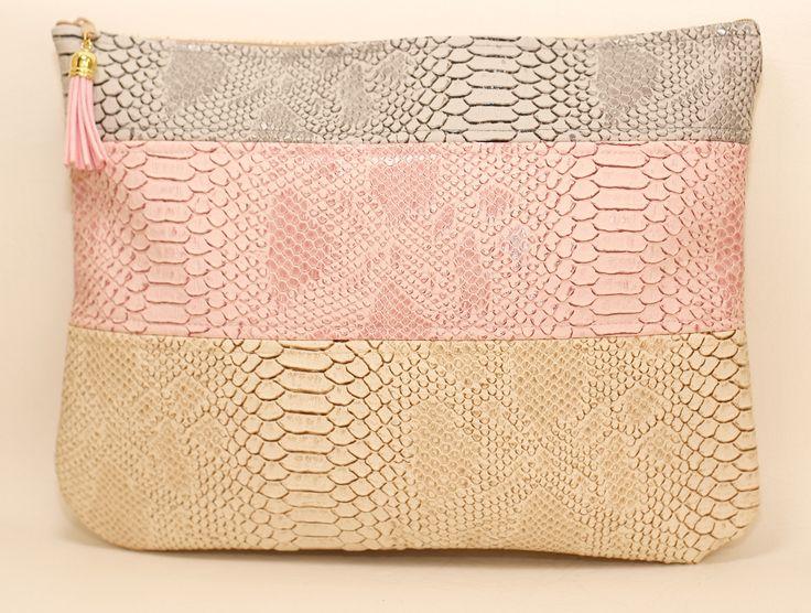 Pochette croco sac simili cuir Arena gris/rose/beige