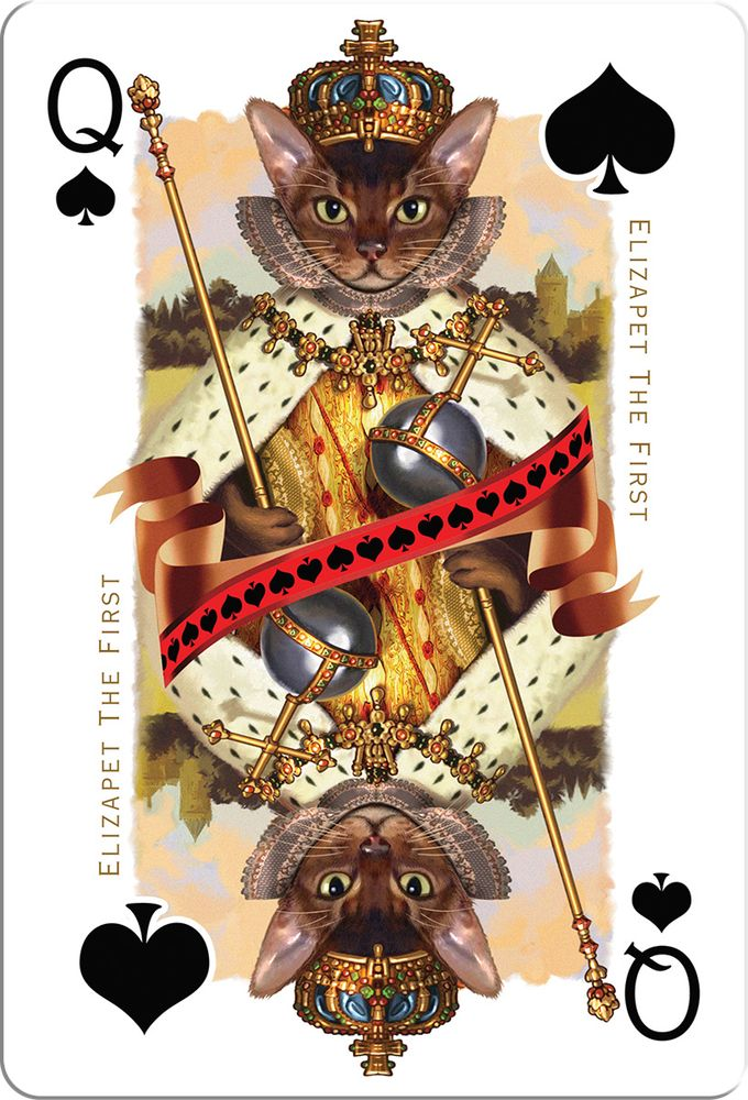 Queen of Spades from Cats and Dogs Royale playing cards by Gerad Taylor