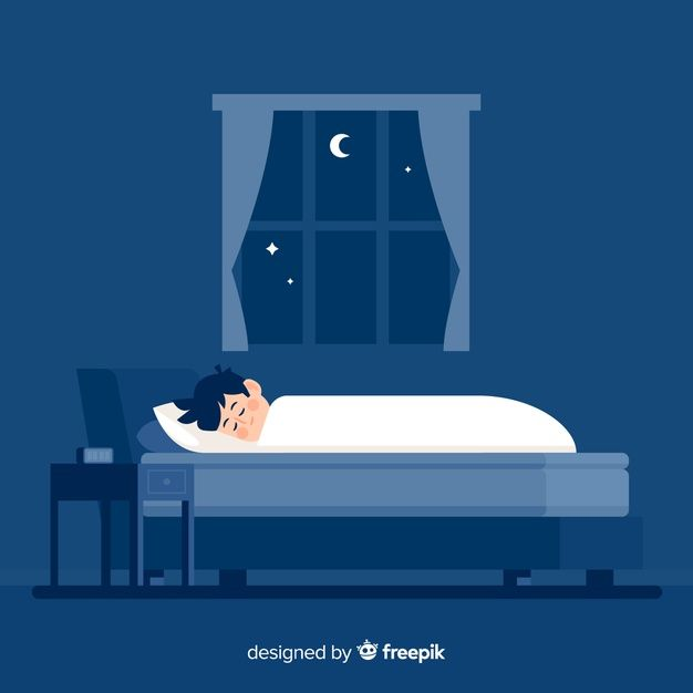 Download Flat Person Sleeping At Night In Bed Background For Free Bed Vector Character Flat Design Night Illustration