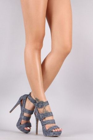 Qupid Nautical Strappy Platform Stiletto Heel