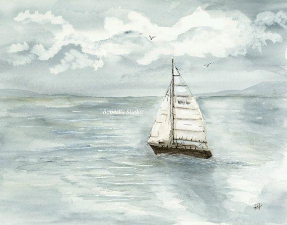 Calm Sailing, watercolor print, art print, seascape painting, sailboat art, summer watercolor, ocean painting, landscape, nautical, sailing
