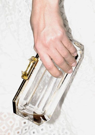 Burberry clear clutch. Photo: Imaxtree for Harper's Bazaar.