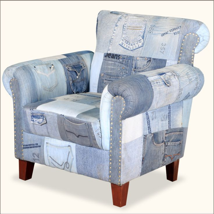 Whimsical Blue Jean W Pockets Overstuffed Easy Chair