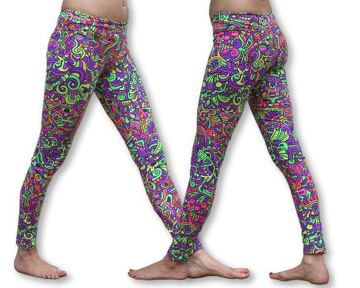 Wide waistband Leggings : Rainbow Mayan Fully printed cotton lycra leggings. Wide elasticated waistband. UV Active ! Cotton lycra fabric (95% cotton, 5% lycra) Artwork by Adi