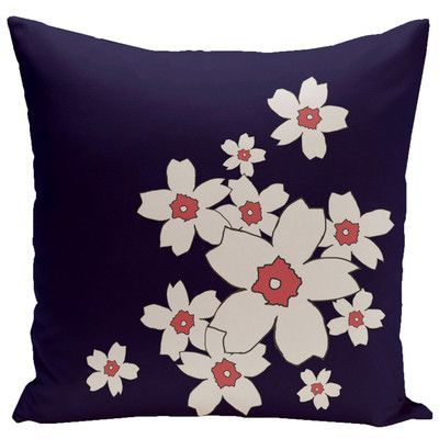 """e by design Floral Throw Pillow Size: 16"""" H x 16"""" W, Color: Spring Navy"""