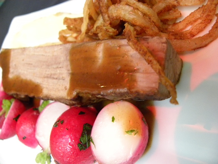 The result: Braised shoulder of Linum veal with herbed radishes and potato lime purée.