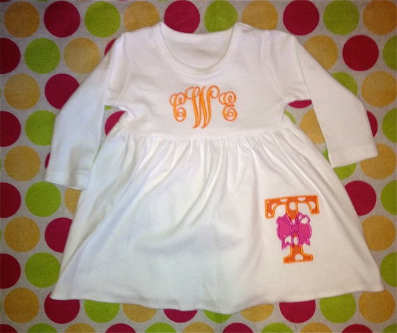 Monogrammed Tennessee Football Dress, $30.00 - Y'all KNOW I'd NEVER put Hannah in this (EVER), but it would be very cute for some of you UT fans out there! :)