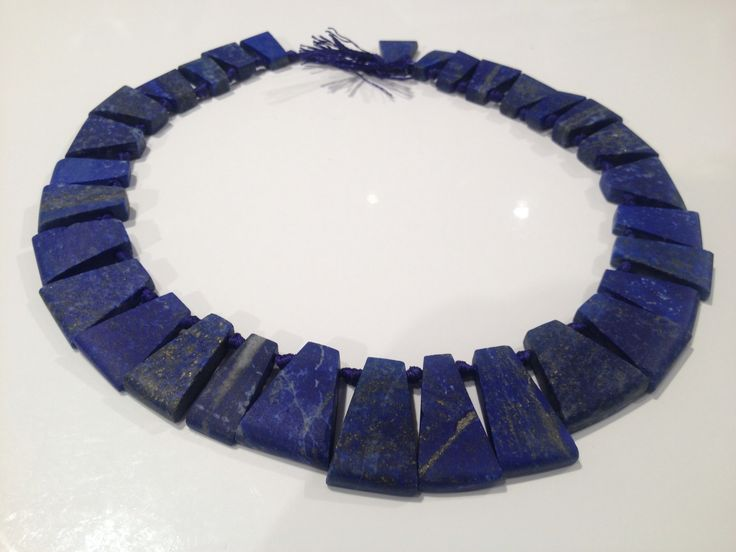 "Afghan lapis lazuli bead strands NJBS6359 One of the noticeable necklaces Lapis Lazuli graduated Pharoah style beads strand about 33 beads,20"" long strand natural and genuine Lapis Lazuli Drilled at the top, sideways,  8mm to 18mm wide, front and back is math finish polished,  Temporarily strung not finished jewelry https://www.etsy.com/ca/shop/NajibJewellers/about?ref=shopinfo_about_leftnav Quantity orders are available for wholesale prices. Up to a 50 strands can be supplied."